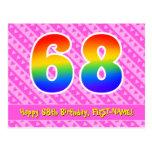 [ Thumbnail: 68th Birthday: Pink Stripes & Hearts, Rainbow 68 Postcard ]