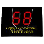 "[ Thumbnail: 68th Birthday: Red Digital Clock Style ""68"" + Name Gift Bag ]"