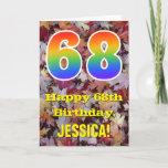 "[ Thumbnail: 68th Birthday; Rustic Autumn Leaves; Rainbow ""68"" Card ]"