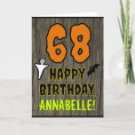 [ Thumbnail: 68th Birthday: Spooky Halloween Theme, Custom Name Card ]