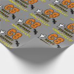 [ Thumbnail: 68th Birthday: Spooky Halloween Theme, Custom Name Wrapping Paper ]