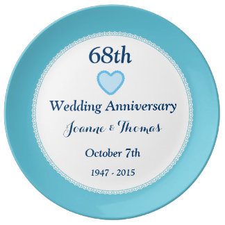 68th Wedding Anniversary BLUE Background A68A Dinner Plate