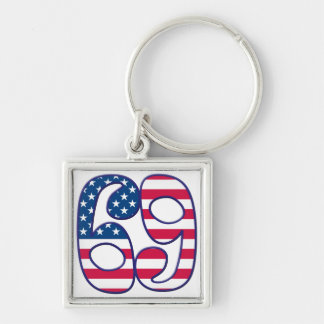 69 Age USA Silver-Colored Square Keychain