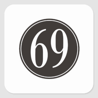 #69 Black Circle Square Sticker