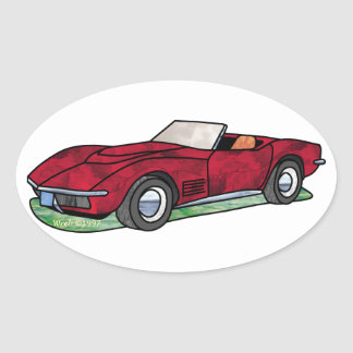 69 Corvette Sting Ray Roadster Oval Sticker