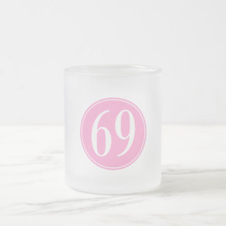 #69 Pink Circle Frosted Glass Coffee Mug