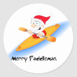 69_santa_paddler round stickers