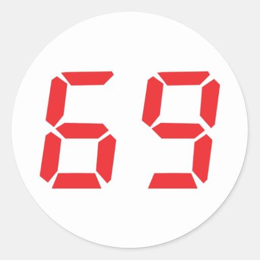 69 sesenta y nueve números digitales del pegatina redonda
