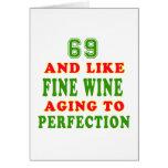 69 y como diseños del cumpleaños del vino fino tarjeton