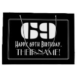 "[ Thumbnail: 69th Birthday ~ Art Deco Inspired Look ""69"" + Name Gift Bag ]"