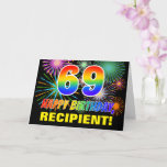 [ Thumbnail: 69th Birthday: Bold, Fun, Fireworks, Rainbow 69 Card ]