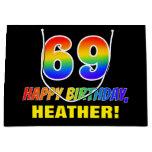[ Thumbnail: 69th Birthday: Bold, Fun, Simple, Rainbow 69 Gift Bag ]