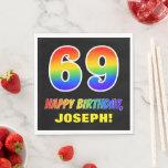 [ Thumbnail: 69th Birthday: Bold, Fun, Simple, Rainbow 69 Napkins ]