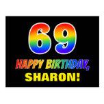[ Thumbnail: 69th Birthday: Bold, Fun, Simple, Rainbow 69 Postcard ]