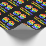 [ Thumbnail: 69th Birthday: Bold, Fun, Simple, Rainbow 69 Wrapping Paper ]