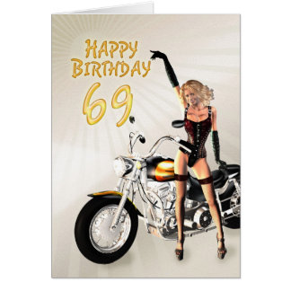 69th Birthday card with a motorbike girl