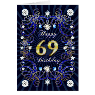 69th birthday card with masses of jewels