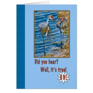 69th Birthday Card with Sandhill Cranes