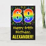 [ Thumbnail: 69th Birthday: Colorful Music Symbols + Rainbow 69 Card ]