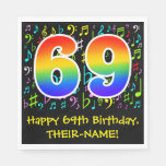 [ Thumbnail: 69th Birthday - Colorful Music Symbols, Rainbow 69 Napkins ]