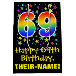 [ Thumbnail: 69th Birthday: Colorful Stars Pattern & Rainbow 69 Gift Bag ]