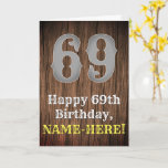 [ Thumbnail: 69th Birthday: Country Western Inspired Look, Name Card ]