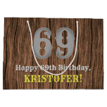 [ Thumbnail: 69th Birthday: Country Western Inspired Look, Name Gift Bag ]