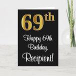 [ Thumbnail: 69th Birthday ~ Elegant Luxurious Faux Gold Look # Card ]
