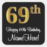 [ Thumbnail: 69th Birthday – Elegant Luxurious Faux Gold Look # Sticker ]