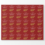 [ Thumbnail: 69th Birthday: Elegant, Red, Faux Gold Look Wrapping Paper ]