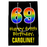 "[ Thumbnail: 69th Birthday: Fun, Bold, Colorful, Rainbow ""69"" Gift Bag ]"