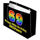 [ Thumbnail: 69th Birthday ~ Fun, Colorful, Vibrant, Rainbow 69 Gift Bag ]