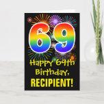 [ Thumbnail: 69th Birthday: Fun Fireworks Pattern + Rainbow 69 Card ]