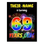 "[ Thumbnail: 69th Birthday - Fun Fireworks, Rainbow Look ""69"" Postcard ]"