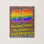 [ Thumbnail: 69th Birthday: Fun Graffiti-Inspired Rainbow 69 Jigsaw Puzzle ]