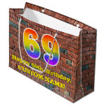[ Thumbnail: 69th Birthday: Fun, Graffiti-Inspired Rainbow # 69 Gift Bag ]