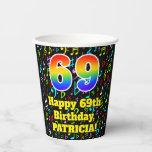 [ Thumbnail: 69th Birthday: Fun Music Notes Pattern, Rainbow 69 ]