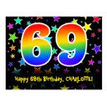 [ Thumbnail: 69th Birthday: Fun Stars Pattern, Rainbow 69, Name Postcard ]