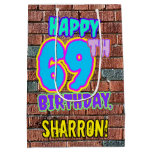 [ Thumbnail: 69th Birthday: Fun, Urban Graffiti Inspired Look Gift Bag ]