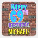 [ Thumbnail: 69th Birthday – Fun, Urban Graffiti Inspired Look Sticker ]