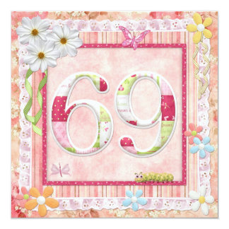 69th birthday party scrapbooking style card