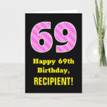 "[ Thumbnail: 69th Birthday: Pink Stripes and Hearts ""69"" + Name Card ]"