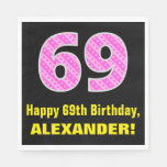 "[ Thumbnail: 69th Birthday: Pink Stripes and Hearts ""69"" + Name Napkins ]"