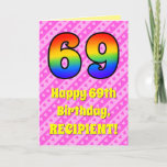 [ Thumbnail: 69th Birthday: Pink Stripes & Hearts, Rainbow # 69 Card ]
