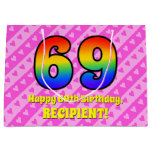 [ Thumbnail: 69th Birthday: Pink Stripes & Hearts, Rainbow # 69 Gift Bag ]