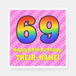 [ Thumbnail: 69th Birthday: Pink Stripes & Hearts, Rainbow # 69 Napkins ]
