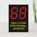 "[ Thumbnail: 69th Birthday: Red Digital Clock Style ""69"" + Name Card ]"