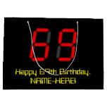 "[ Thumbnail: 69th Birthday: Red Digital Clock Style ""69"" + Name Gift Bag ]"