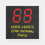 "[ Thumbnail: 69th Birthday: Red Digital Clock Style ""69"" + Name Napkins ]"