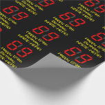 """[ Thumbnail: 69th Birthday: Red Digital Clock Style """"69"""" + Name Wrapping Paper ]"""